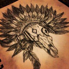 Awesome Native Bull Skull Tattoo Drawing