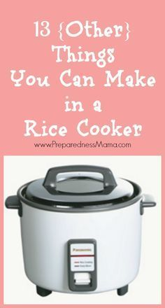 13 {Other} Things You Can Make in a Rice Cooker - - Who knew the rice cooker was such a versatile kitchen appliance? Get rice cooker recipes for 13 other things you can cook and keep the kitchen cool. Rice Cooker Pasta, Rice Cooker Pancake, Aroma Rice Cooker, Rice Cooker Steamer, Rice Cooker Recipes, Rice Recipes, Crockpot Recipes, Rice Cooker Rice Pudding, Emergency Preparedness