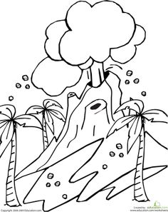 Worksheets: Volcano Coloring Page