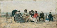 Eugène Boudin - Collation sur la plage en compagnie du peintre Mettling ou La Conversation, plage de Trouville (1876)