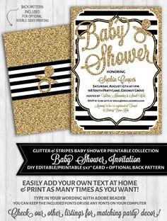 Baby Shower Invitations: Black and White Stripes & Gold Glitter