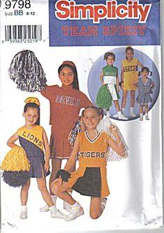 Cheerleader Simplicity Team Spirit Pattern #9798 Sz 2-6 (Image1)