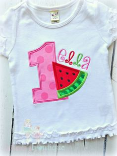 Hey, I found this really awesome Etsy listing at https://www.etsy.com/listing/229171676/birthday-watermelon-applique-shirt