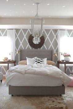 Contemporary Master Bedroom with Art desk, Holtkotter Brushed Brass Low-Voltage Halogen Desk Lamp, Upholstered bed, Carpet