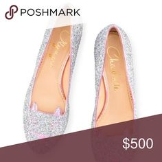 Charlotte Olympia kitty glitter flats Sold out in all department stores!! This is a gorgeous glitter pink trimmed kitty flat. **This pair is a size 38.5 and according to Nordstrom is an 8 in this brand so I listed it as an 8** Charlotte Olympia Shoes