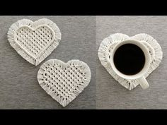 DIY POSAVASOS ☕️ CORAZON ️❤ en MACRAME (paso a paso)   DIY Macrame Heart Coasters Tutorial - YouTube Macrame Art, Macrame Design, Macrame Projects, Macrame Knots, Macrame Plant Hanger Patterns, Macrame Patterns, Half Hitch Knot, Heart Diy, Micro Macramé