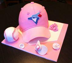 Baby girl blue jays themed baseball cap hat cake