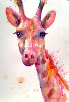 Original Giraffe Watercolour by ArtbySarahWhite on Etsy