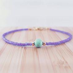 Minimalist pastel bracelet // seed bead friendship bracelet // purple and turquoise beaded bracelet // simple beaded bracelet // gemstone by PeachLeaves on Etsy