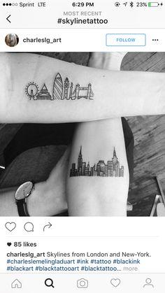 Couple Tattoos, Leg Tattoos, Black Tattoos, Body Art Tattoos, Tatoos, London Skyline Tattoo, London Tattoo, Marathon Tattoo, Mark Tattoo
