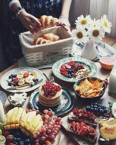 breakfast, cake, coffee, croissant, food
