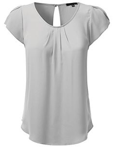JJ Perfection Women's Woven Petal Short Sleeve Blouse GRE…