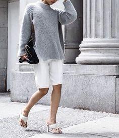 #VanessaHong's fabulous grey knit with bermudas. NYC. #TheHautePursuit