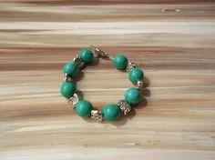 Turquoise and Elephants Glass Beaded Bracelet, Chunky Turquoise Bracelet, Elephant Jewelry