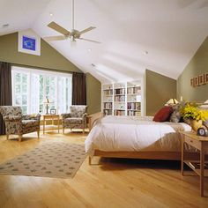 Here, an empty attic provided just the right space for a new master suite. The peaked ceiling matches the gabled dormer on the front of the house and also opens up the master bedroom for a soaring, window-filled wall with access to the balcony.