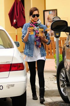 black boots/black leggings ( I would do skinny jeans for me) white tee/jean jacket/bright scarf..so cute