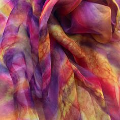 Desert Sunset -  inspired by the colours and textures of the Omani desert, this is a hand painted scarf made of 100% pure Silk Chiffon 3.5 light-weight silk  (gauze).  Size: 40 cm x 150 cm Blend of  purples, oranges, reds and browns. Unique-, original design, one off item. This scarf a perfect gift for any occasion and a unique accessory for your spring- or summer outfit. Hand-dyed with Jacquard Green Label Dyes, using different salts to create textures. Steamed for 3 hours to set the colour. Desert Sunset, Deserts, Silk Art, Silk Painting, Salts, Silk Chiffon, 100 Pure, Pure Silk, Dyes