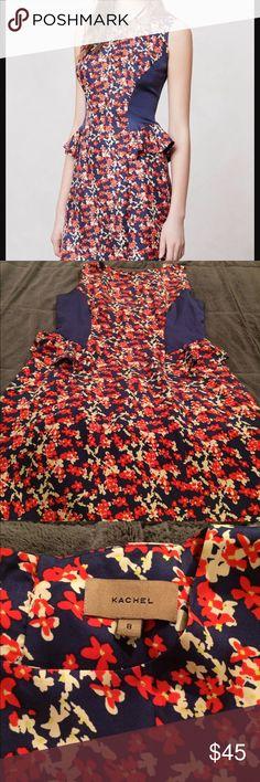 Anthropologie Kachel Silk Peplum Dress 8 Perfect little dress from Anthropologie. This is Kachel brand. Size 8. In perfect condition. Anthropologie Dresses