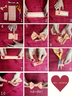 "You can find these bows for really cheap at Forever 21, but I've had trouble finding them recently and I'd like to add to my collection, so this is definitely on the to do list! Borrowed from Elsie Larson of ""A Beautiful Mess Blog."""