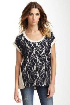 Hi-Lo Lace Overlay Top by Olivia Moon on @HauteLook