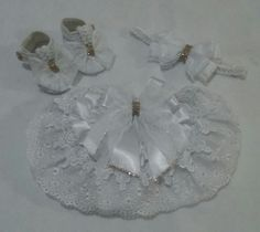 Kit calcinha feita de algodão, faixinha 45 cm mais sapatinho tamanho 6
