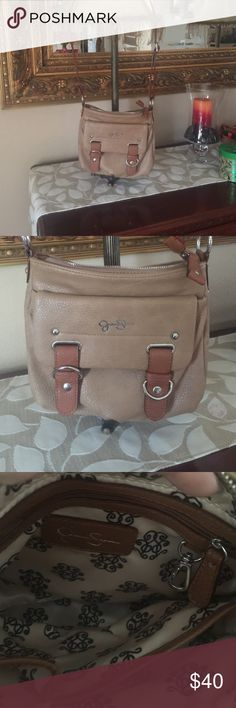 Jessica Simpson Tan Leather like material crossbody handbag Jessica Simpson Bags Crossbody Bags