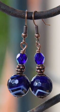 Antique Copper, Navy Blue Striped Agate Gemstone, and Blue Czech Glass Beaded Dangle Earrings. Agate Gemstone and Copper Dangle Earrings.
