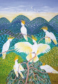 White Cockatoos and Blue Hills  by Gwen Mason
