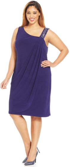 Betsy & Adam Plus Size Beaded One-Shoulder Dress