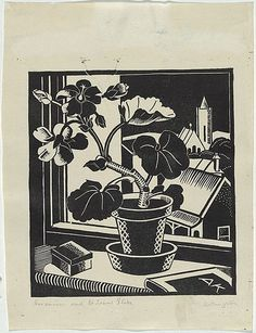 Artist: KINGSTON, Amie | Title: Geranium and St John's, Glebe. | Date: 1933 | Technique: linocut, printed in black ink, from one block