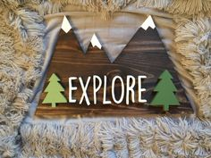Explore Mountains with White Peaks and Green Pine Trees Custom Name Wood Sign Home Decor Gift Hand Cut Scroll Saw Name Board Kids Room Decor my Etsy shop https://www.etsy.com/listing/505762045/explore-mountains-with-white-peaks-and