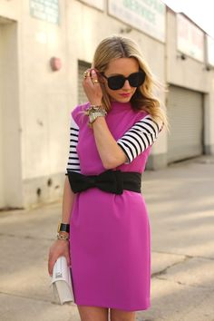 Casual glam | capsleeve dress + bow belt + striped shirt + oversized sunglasses