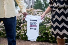 Our design was featured in this cute photo shoot to announce this happy couple's first pregnancy!