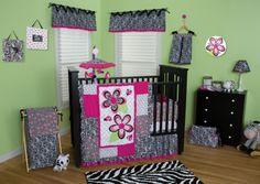 Trend Lab's Zahara Crib Bedding Includes: Quilt, Bumper, Sheet, Skirt, Diaper Stacker, Blanket, Storage Caddy, Clock, Frames, Hamper, Mobile, lamp shade, diaper bag and Window Valance.