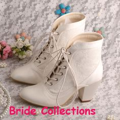Bride Collections Lace-up White Wedding Boots Chunky Heel Women Bridal Boots Free Shipping