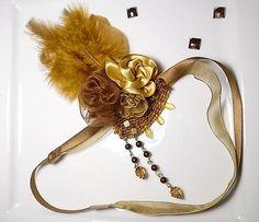 Vintage romantic feather diy headband hair piece on Sashe, romantická ručne robená vintage retro čelenka na Sashe - Tee with Honey for Gatsby.. čelenka