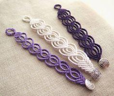 """214 Likes, 4 Comments - Nodantur (@nodantur) on Instagram: """"Heart-shaped bracelets in white, lilac and purple  #macramé #macramebracelet #macramejewelry…"""""""