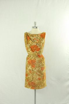 1960's Metallic Mid Century Mod Dress  by VintageFrocksOfFancy, $180.00