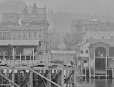Shot from the Morrison Bridge, 1890s.  From Vintage Portland: VP fan Bill Stearns sent this great photo taken from the deck of the original Morrison Bridge, circa 1890s, looking west to the downtown waterfront. He recently obtained the original glass plate negative which he scanned for this beautiful image. In the detail photo at bottom, a paddle wheel steamer can be seen at the Alder Street Dock. Thanks Bill!