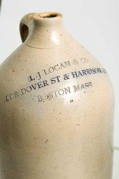 "(2) STONEWARE JUGS ""JONES"" AND ""LOGAN"" BOSTON - 3"