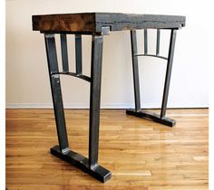 - Reclaimed Wood Bar Height Table with Steel Legs Welded Furniture, Iron Furniture, Steel Furniture, Industrial Furniture, Rustic Furniture, Furniture Design, Into The Woods, Wood Steel, Wood And Metal