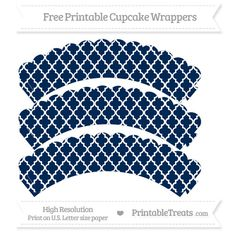 Free Navy Blue  Moroccan Tile Pattern Scalloped Cupcake Wrappers