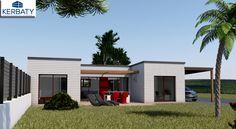 Perspective maison en bois plain-pied avec car port #perspective #maisonbois #plan #kerbaty