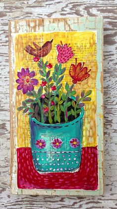 Mixed Media on Rustic Wood Floral  on Etsy, $68.00