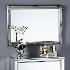 Glitter Mirrored 50cm Wall Clock Silver   Dunelm Mantle Mirror, Silver Wall Mirror, Ornate Mirror, Mirror Mirror, Silver Living Room, Living Room Mirrors, Living Room Decor, Silver Bedroom, Dining Room