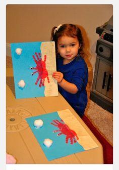 Crab handprint and cotton ball craft!