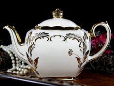 Milky White Sadler Tea Pot, Cube Shaped Vintage Teapot, Scroll Gilding 12806