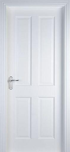 internal & interior doors   White Doors - Solid Pre-Primed Doors   4 Panel (40mm)