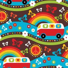 Hippie Day by Sari Ahokainen Conversational Prints, Surface Pattern, Faith, Rainbow, Love, Creative, Happy, Fabrics, Sari