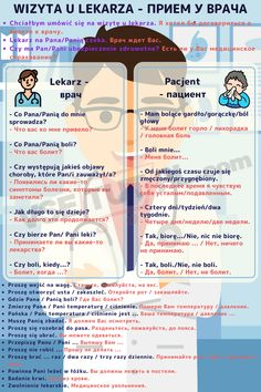 Wizyta u lekarza, Polish Language, Learn Russian, Studyblr, Poland, Education, Words, English, Languages, Activities